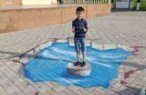 3D рисунками оформили парк Женис в Таразе